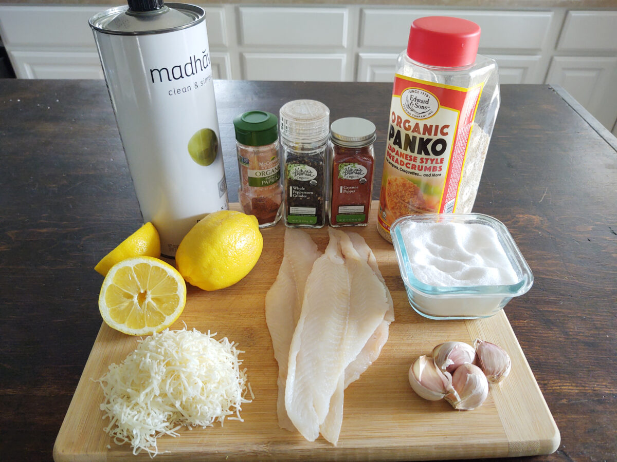 Ingredients for lemon zest crusted flounder with garlic and parmesan