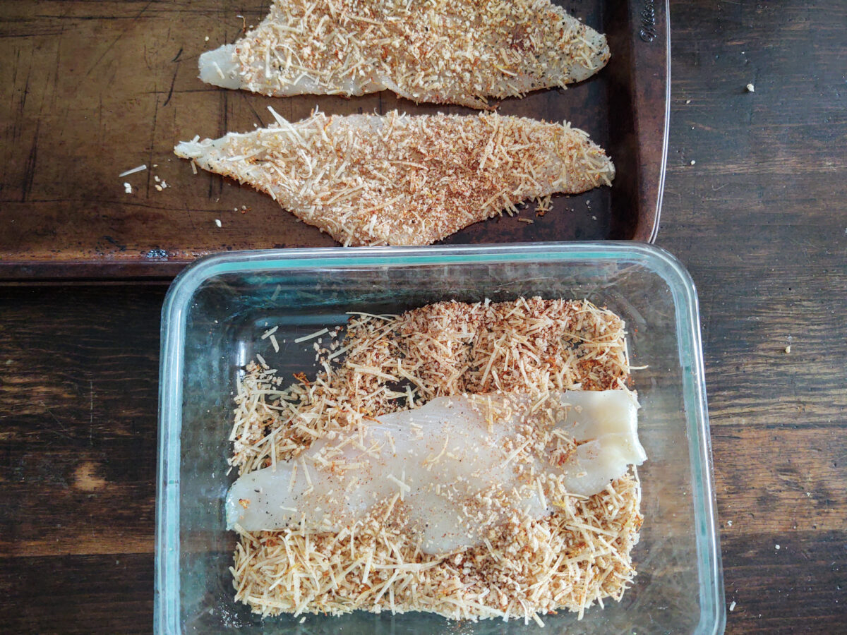crusting process for lemon zest flounder