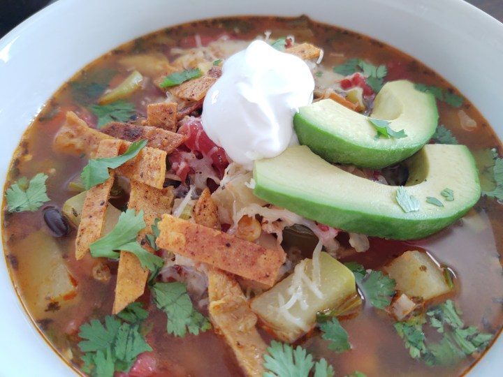 Horizontal finished picture of Chicken Tortilla soup