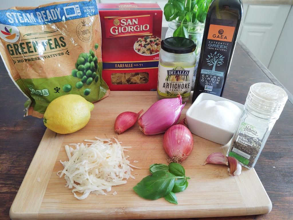 Ingredients displayed for pesto