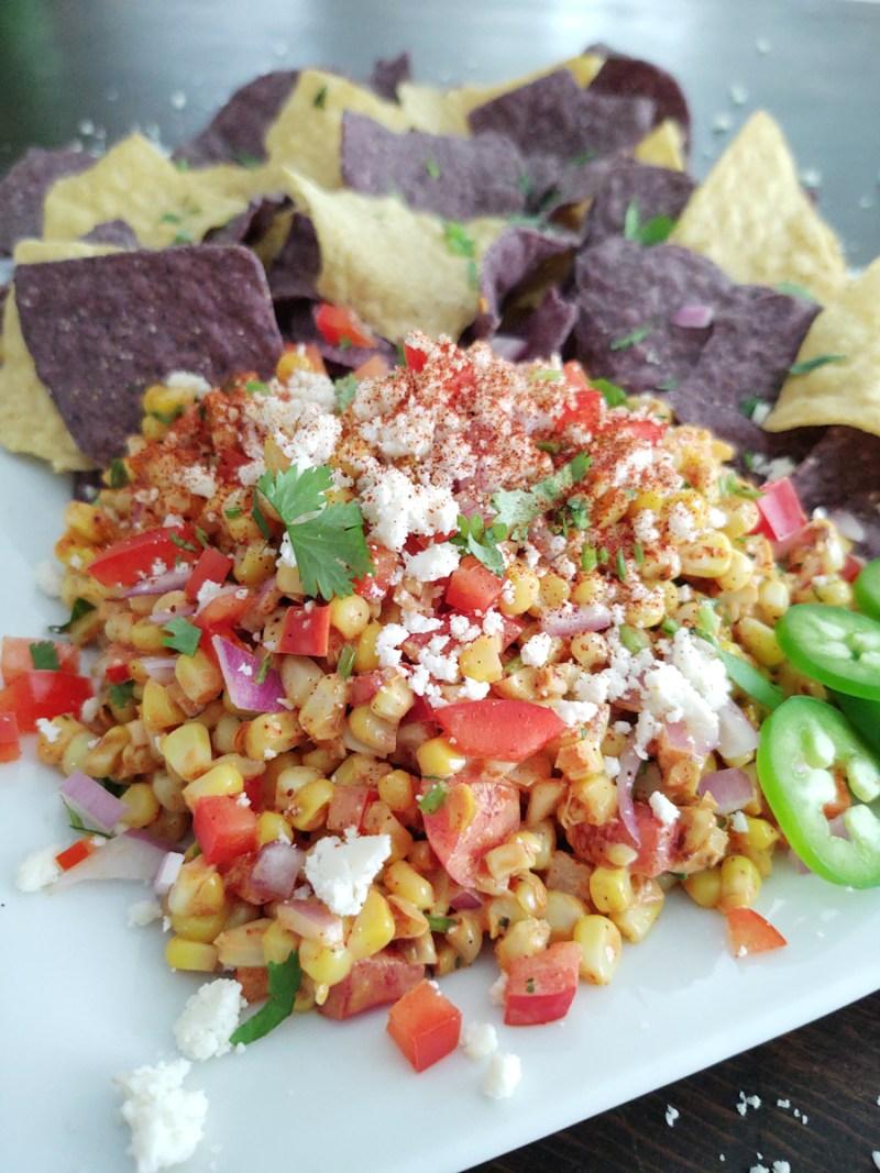 Vertical shot 2 Mexican street corn