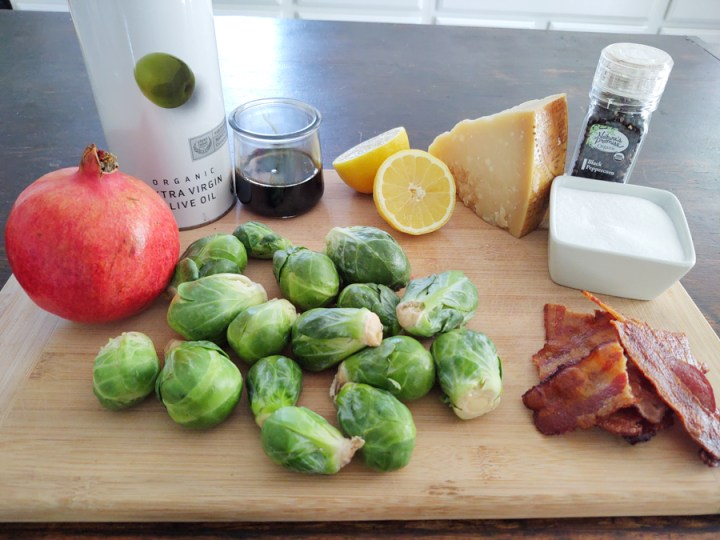ingredients for balsamic glazed Brussels sprouts
