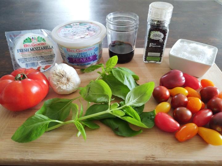Ingredients for Caprese Salad Summertime Appetizer