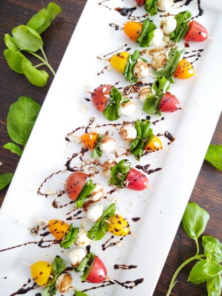Finished shot of Caprese Salad Summertime Appetizer