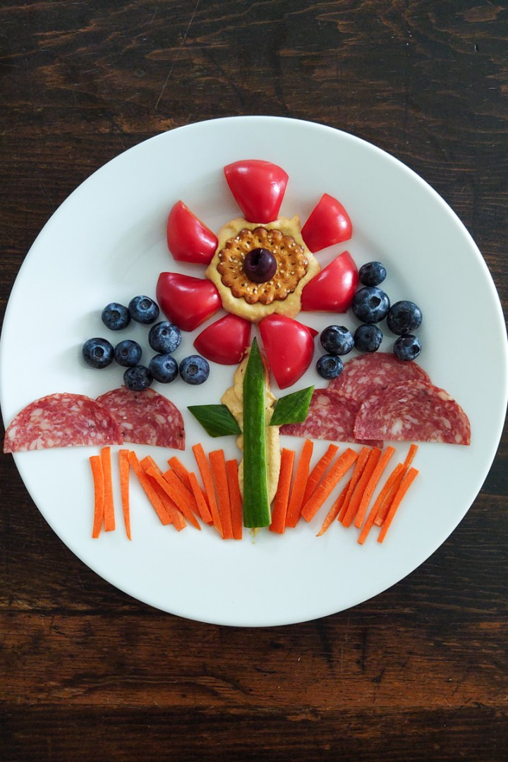 Food Art - A Flower made out of vegetables and hummus
