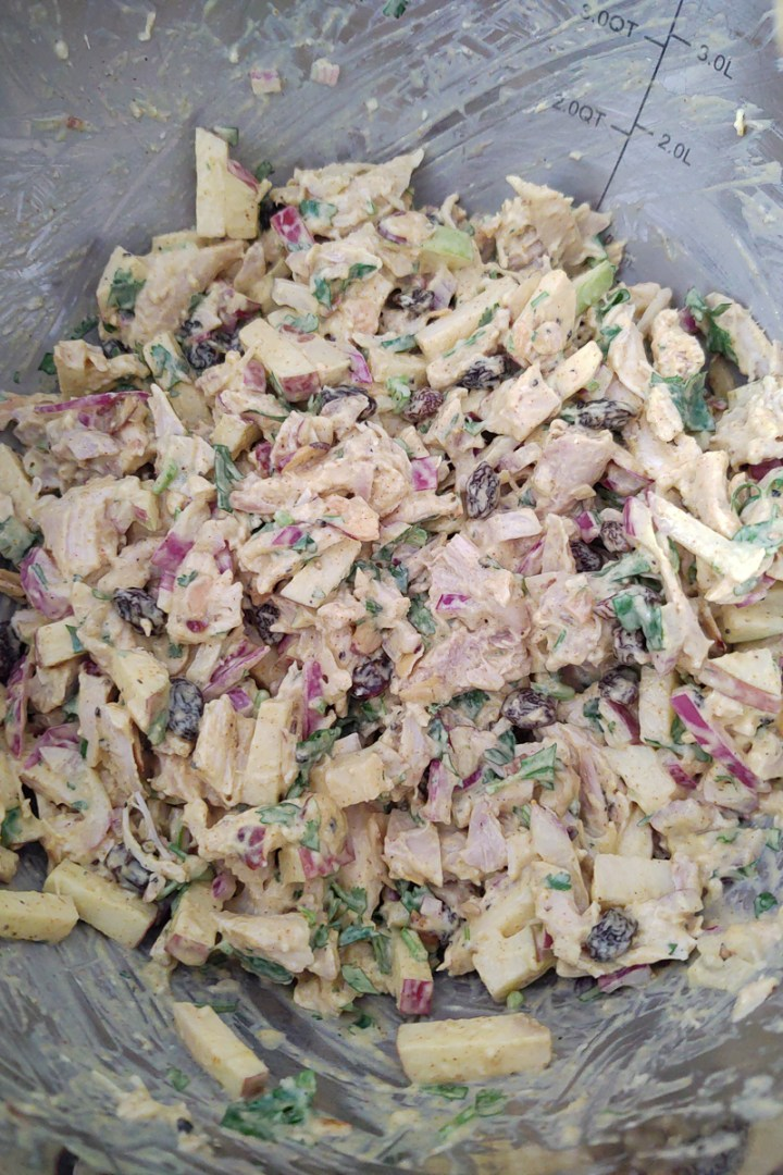How the chicken salad should look once all ingredients have been combined