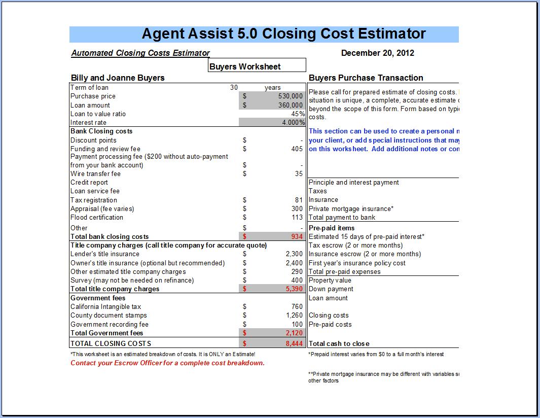 Closing Costs Closing Costs Calculator