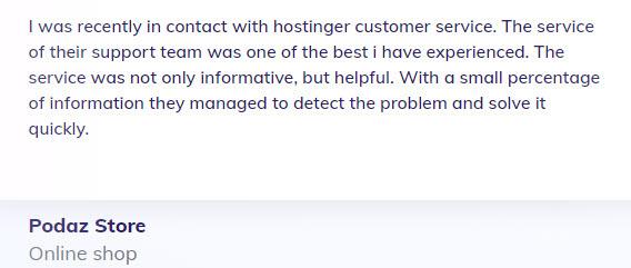 HostingerTestimonial1 - Hostinger Web Hosting Review