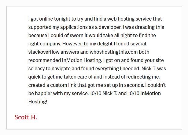 InmotionHostingTestimonial3 - InMotion Hosting Review
