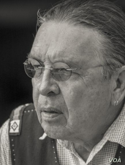 Headshot photo of Cheyenne/Arapaho artist Harvey Pratt, who submitted the winning design for a new Native American Veterans' Memorial in Washington, D.C.  Photo by and courtesy of Neil Chapman.