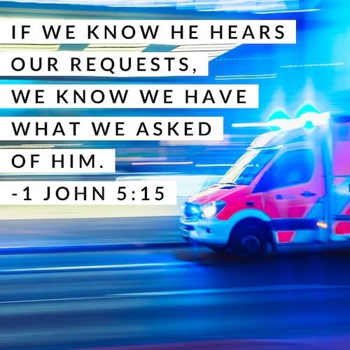 1 John 5:15 ambulance image