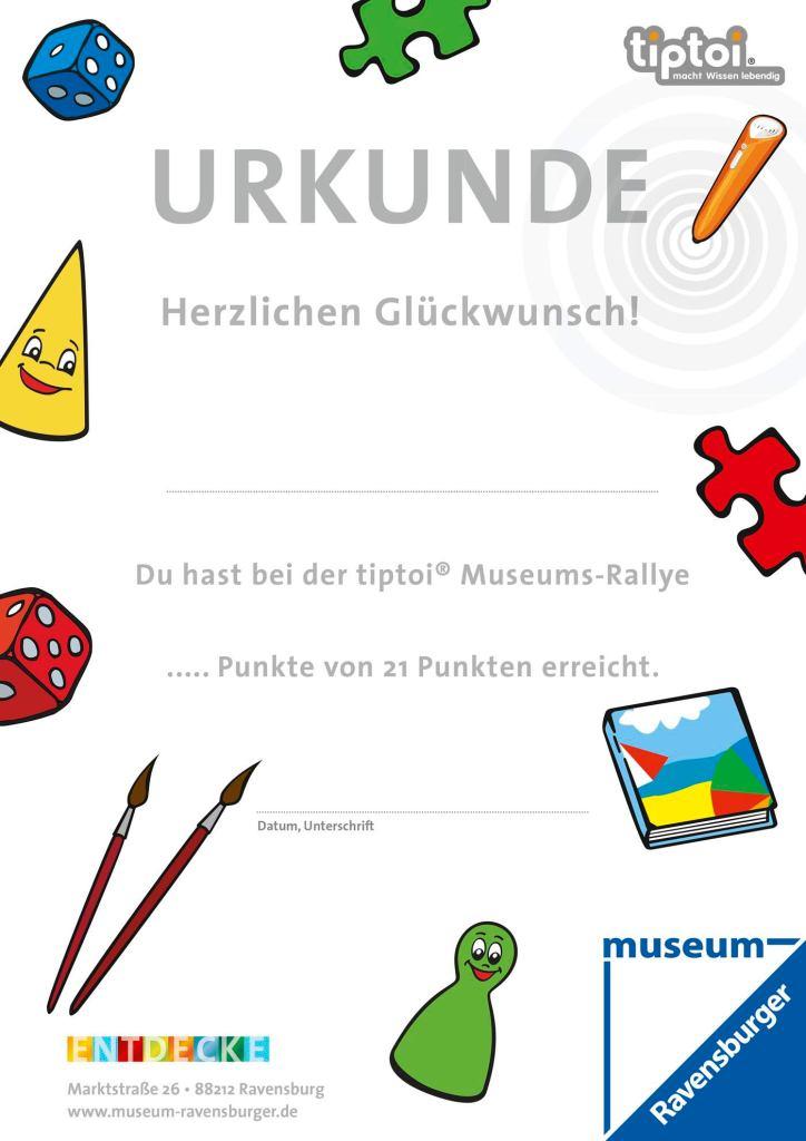 tiptoi-Rallye Urkunde - Museenerlebniswelten - tiptoi-Stift - Agentur Ravensburger