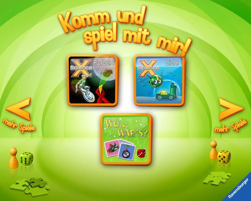 Übersicht Kinder-Apps, Ravensburger, Kinder Touch Computer, Science X, Spiele, Spielelement