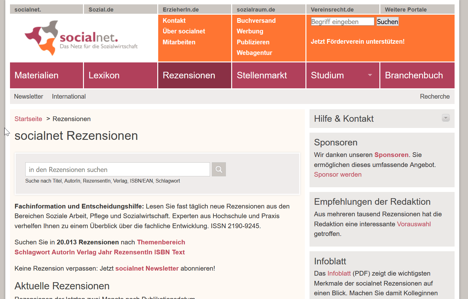 Screenshot der socialnet Rezensionen