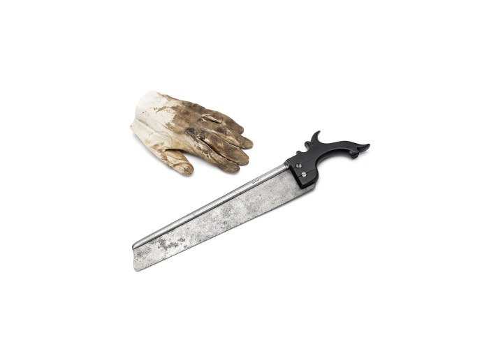 A Surgical Saw and blood stained glove from Waterloo