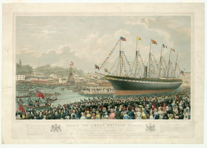Courtesy of the SS Great Britain Trust - A lithograph print of a painting showing the launch of the SS Great Britain steamship. Huge crowds can be seen gathered to watch the ship being launched into Bristol's floating harbour.