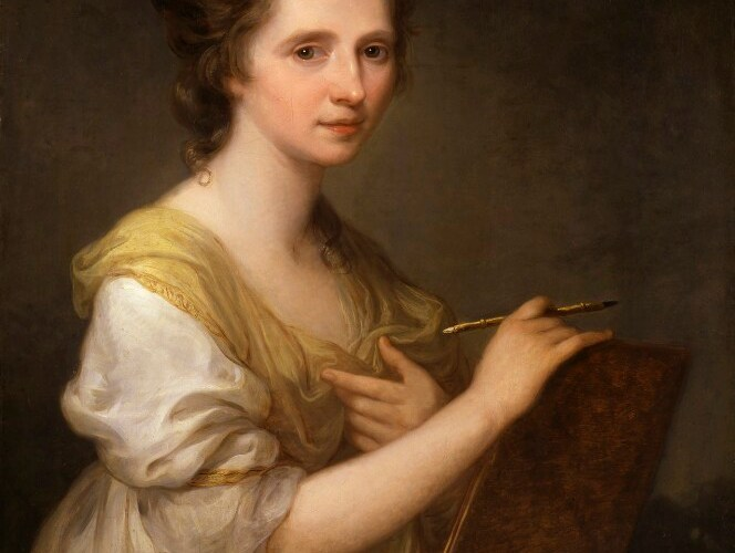 A portrait of a young woman seated looking at the viewer. She is dressed in a white silk dress with a yellow shawl and she is holding a wooden board with a paintbrush in her hand