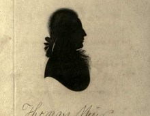 A scan of a page from a book. The page is blank except for a black silhouette of a man in the centre of the page. The silhouette is in profile but the man's ponytail hairstyle can be made out. Beneath the silhouette is the name 'Thomas Muir' in handwriting.