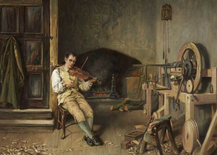 A painting of a man in a workshop. The man is seated in the middle of the room playing a violin, he is dressed in old fashioned clothing. On his left you can see the beginnings of the spinning mule. A diagram is drawn in white on to the wall at the back and tools and wood clippings can be seen on the floor.