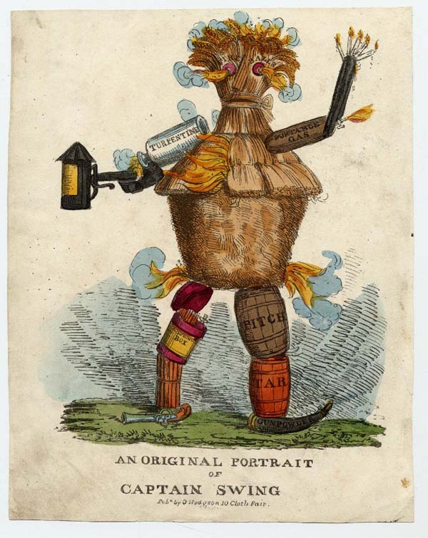 a print showing a figure made of straw, lanterns, barrels and other rural accoutrements