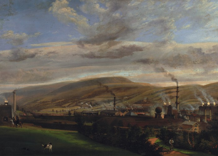 A landscape painting showing an industrial town with chimneys from factories nestled in between rolling green hills.