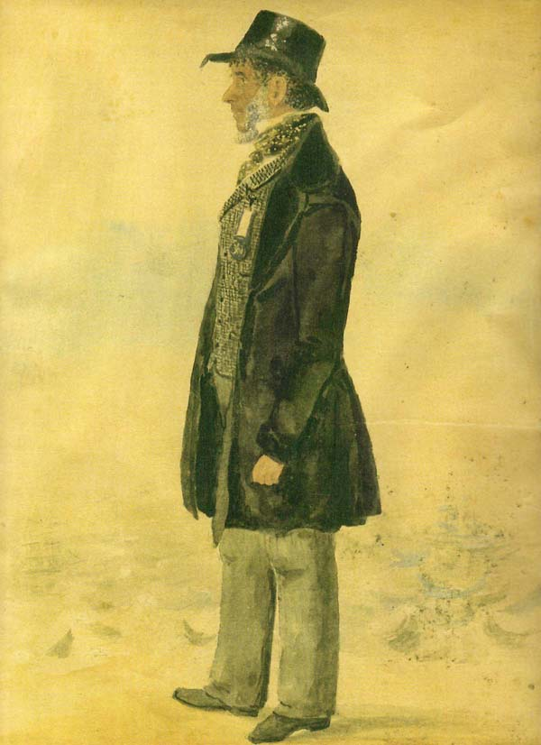 a painted side full length portrait of a manin top hat and tailcoat