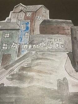 watercolour sketch of Merthyr Tydfil street