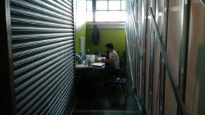 Daniel Imrie-Situnayake working at the farm in San Leandro