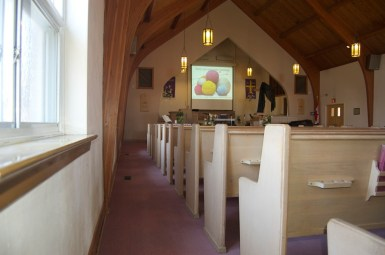 Sanctuary with projector screen down