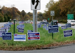 Image: Campaign signs in Virginia