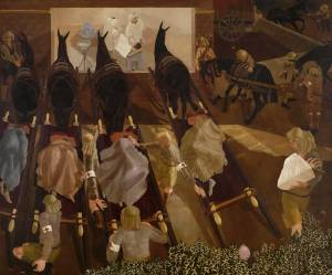 Stanley-Spencer-Travoys-Arriving-with-Wounded-1919