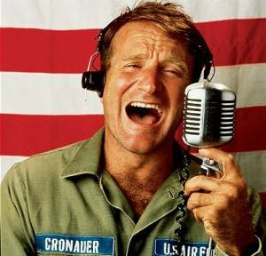 "Actor Robin Williams in a scene fr. the motion picture ""Good Morning Vietnam."""