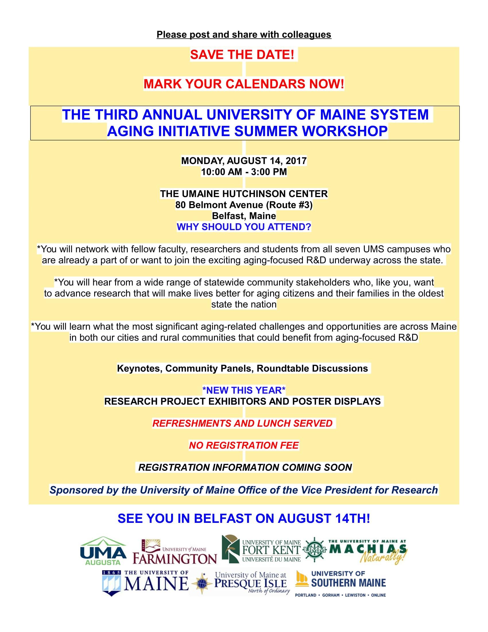 UMS Aging Initiative Workshop 8-14-17