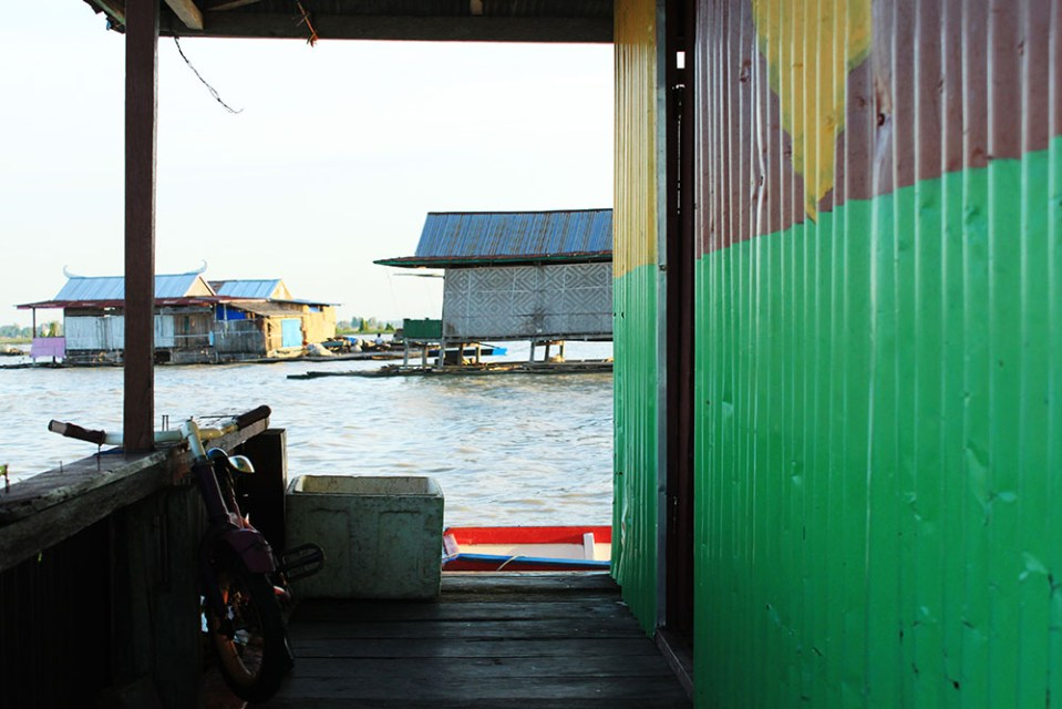 view from floating house tempe lake sulawesi indonesia