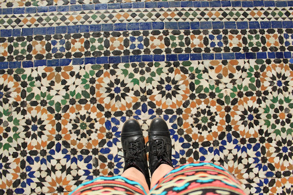 colorful tiles pattern at Bahia Place, Morocco for soul therapy