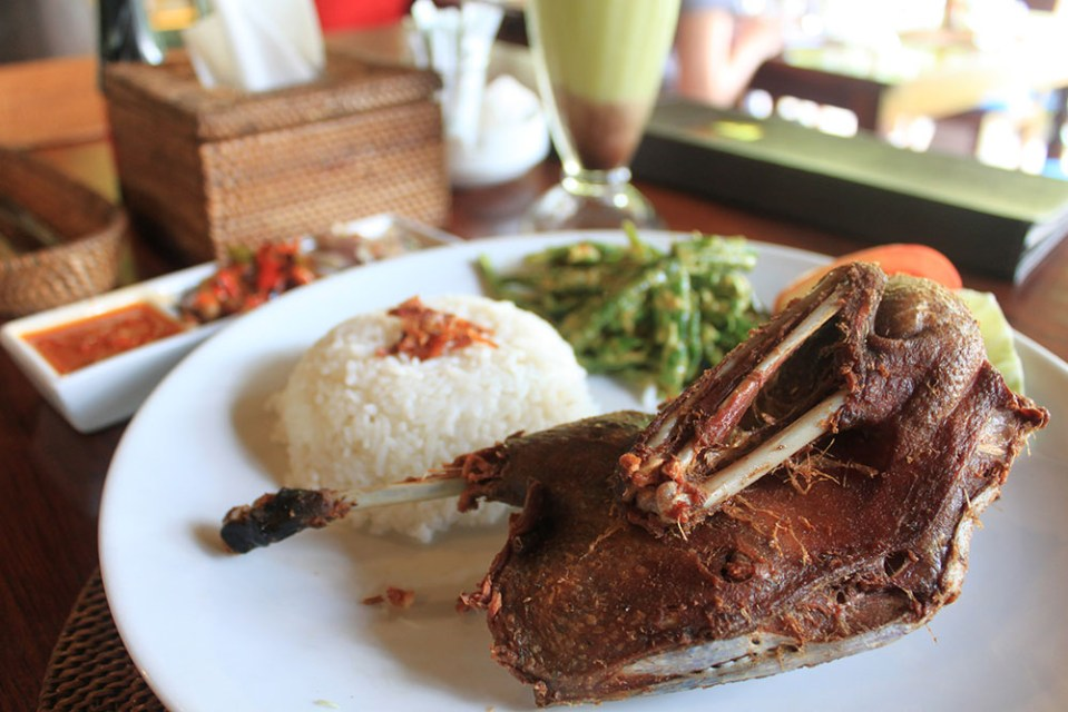 Balinese famous fried duck with rice and sambal