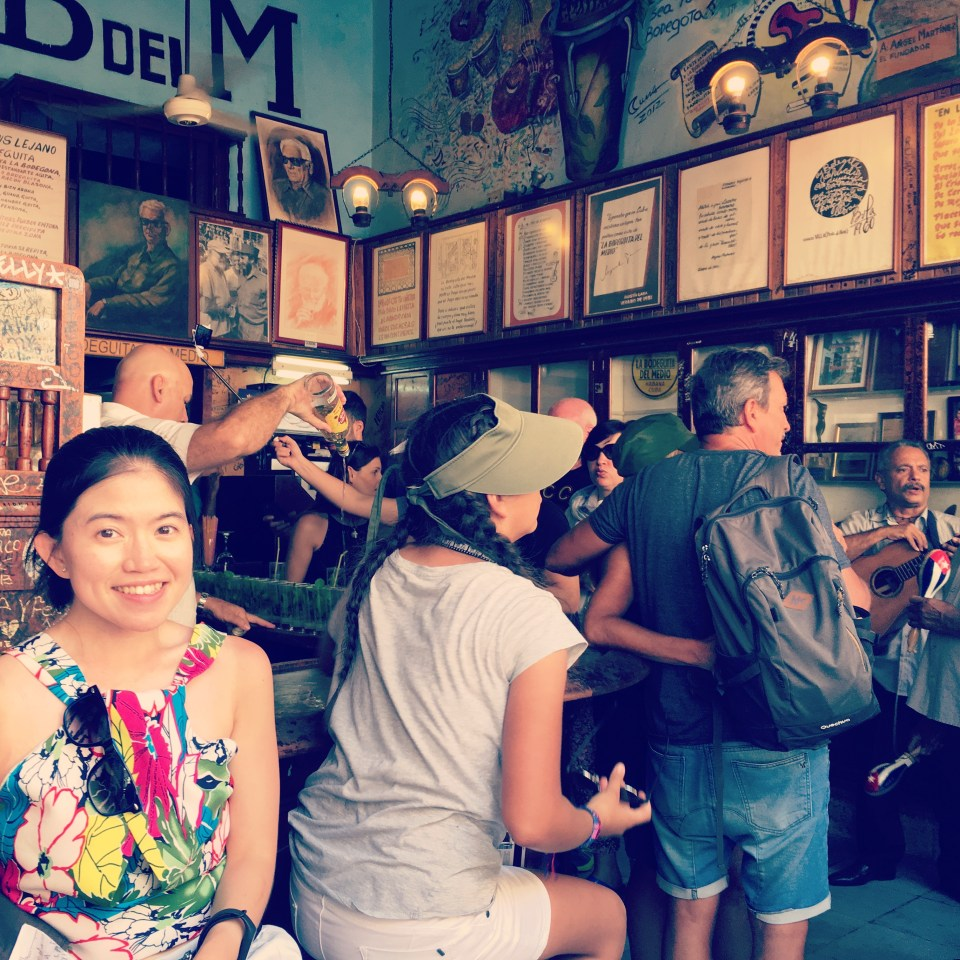 traveler selfie at La Bodeguita del Medio Havana Cuba travel food guide