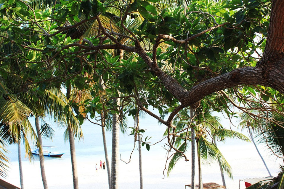 The beach Tanjung Bira view from BaraCoCo Bungalows during summer holiday