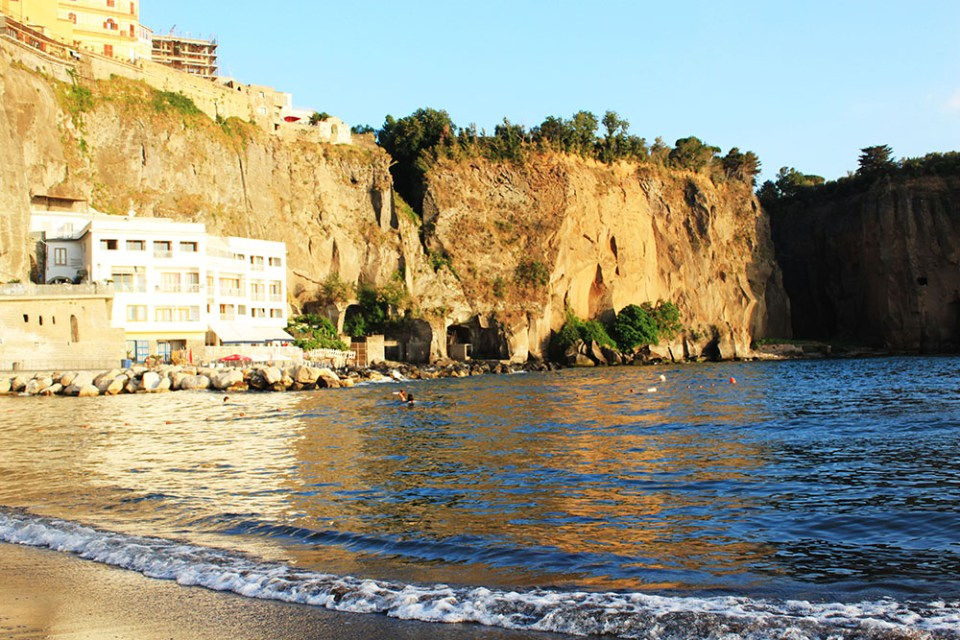 A private beach in Sorrento, Italy during summer