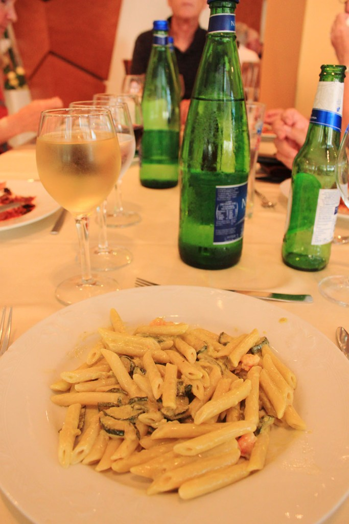Italian penne in Sorrento, Italy during summer vacation