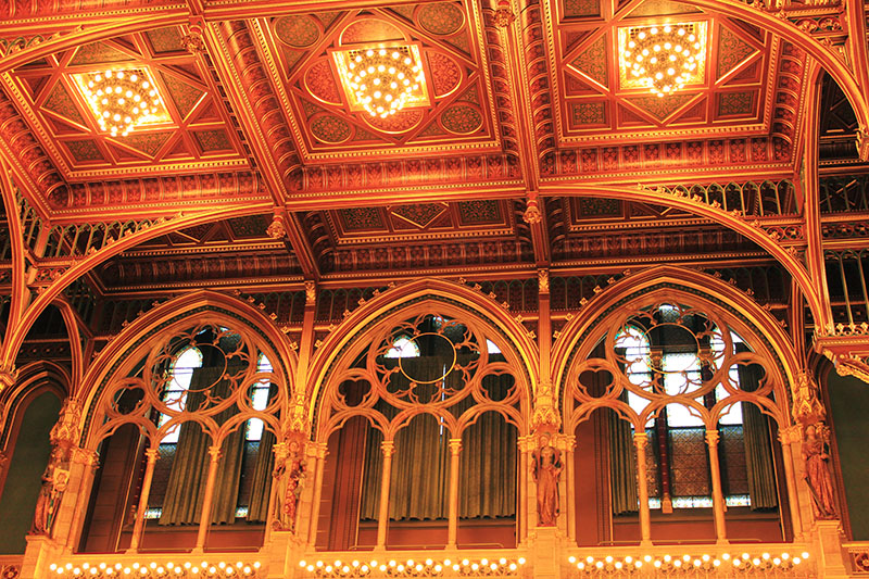 beautiful szep neo Gothic Hungarian Parliament Building interior design details