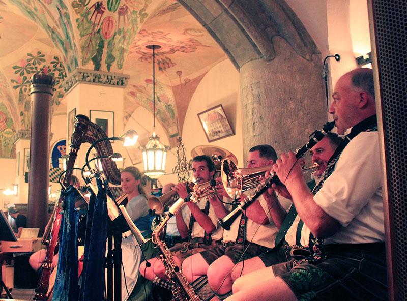 live band men playing trumpet hofbrauhaus munich oktoberfest germany
