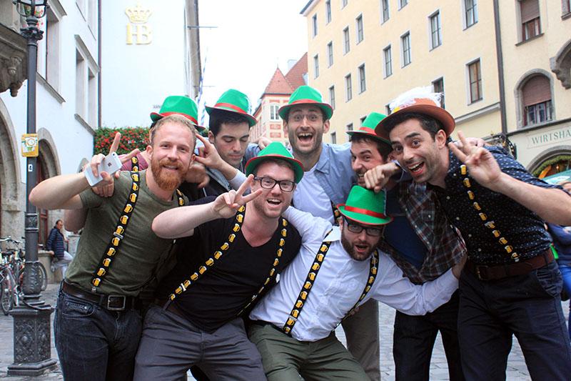 group of men costume green hat oktoberfest munich germany