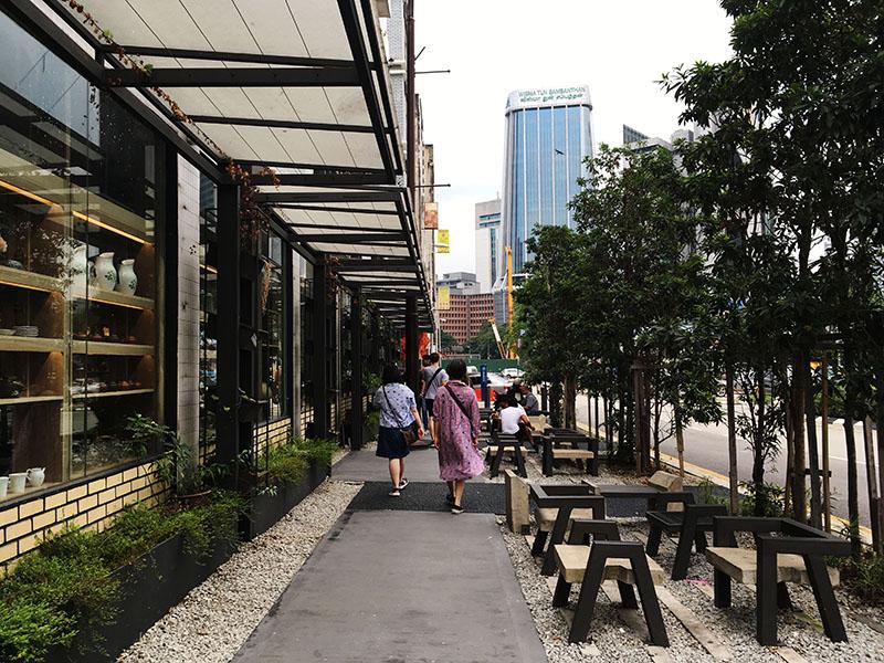 agirlnamedclara purple cane tea art food new minimalist design two woman walking chinatown kl
