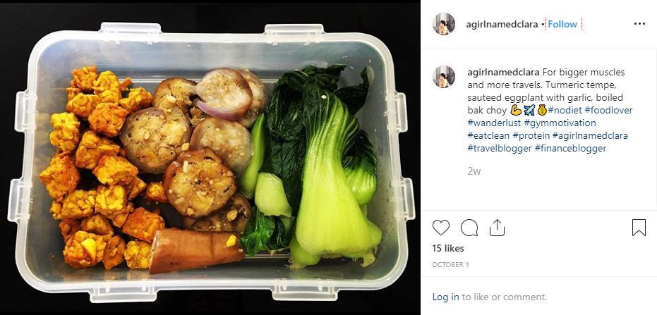 healthy lunch box protein fitness clean food turmeric tempe eggplant bakchoy agirlnamedclara