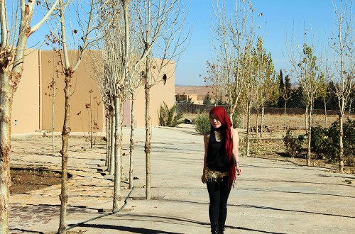 agirlnamedclara_girl morocco style clothing black red head scarf gold shimmy belt