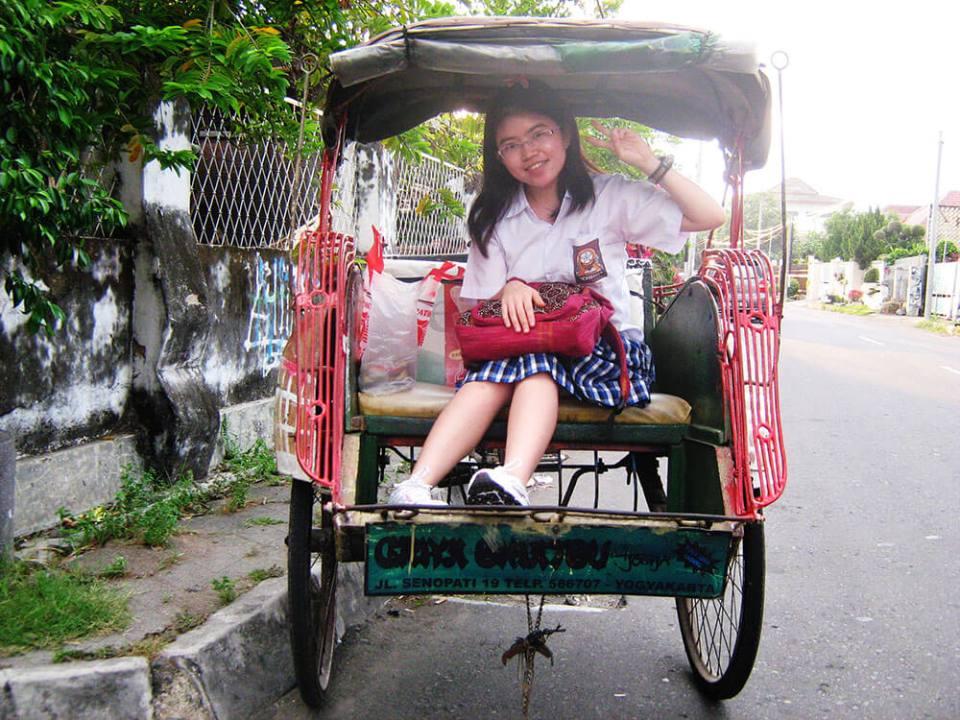 agirlnamedclara local asian schoolgirl ride becak smiling jogjakarta