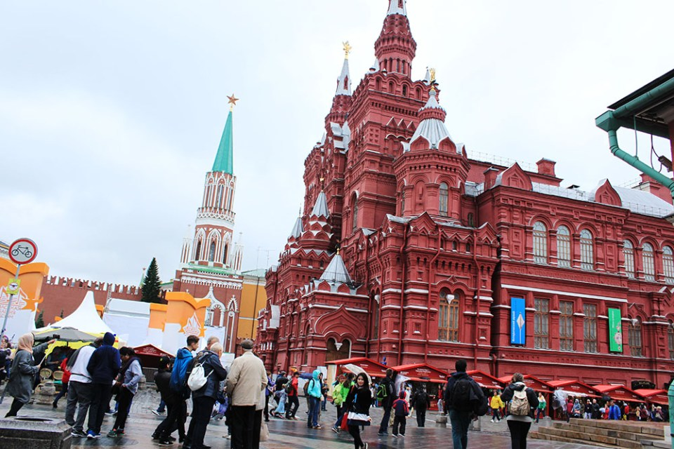 agirlnamedclara in moscow red square red building background