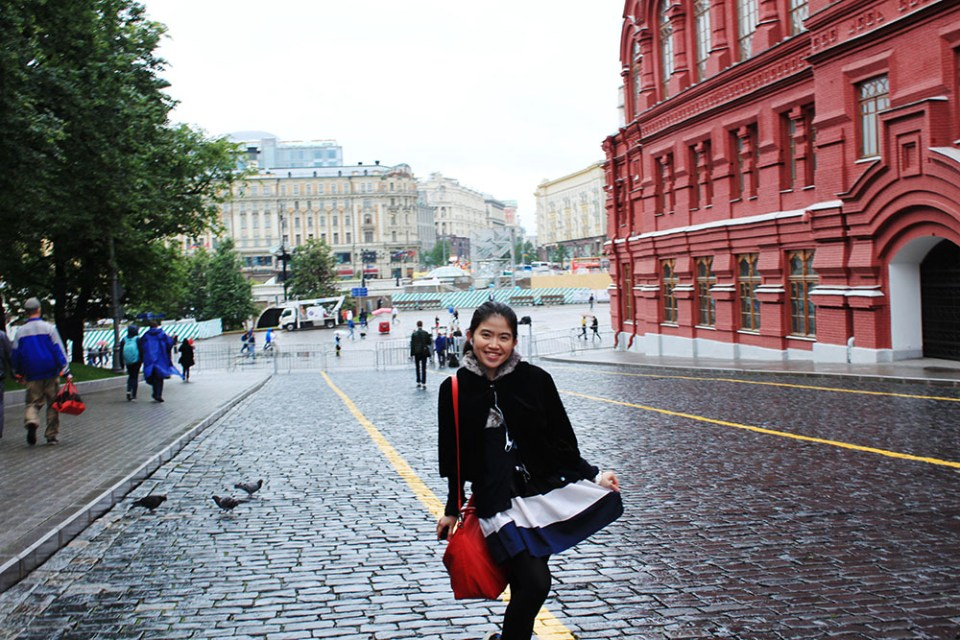 asian little girl black and white dress smiling red square moscow rainy day agirlnamedclara