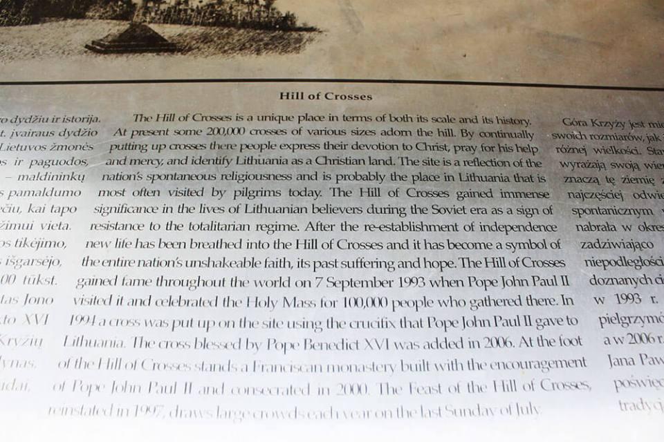 Hill of Crosses history written on a metal Lithuania_agirlnamedclara